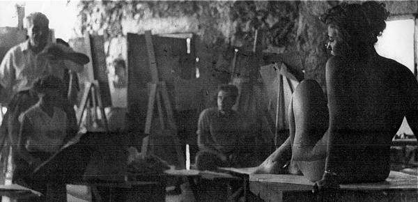 David Kandalkar im Atelier von Marcel Janco (1957).
